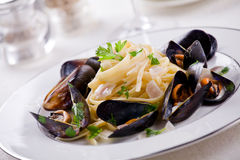 Pasta And Mussels Royalty Free Stock Image