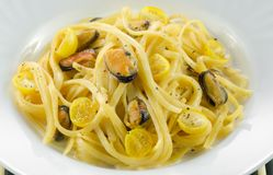 Pasta with mussels in a creamy sauce on plate royalty free stock photography