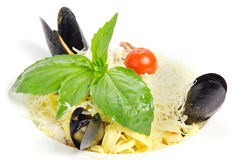 Pasta with mussels Royalty Free Stock Images