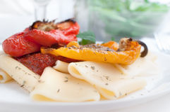 Pasta with napoletana sause and roasted peppers Stock Image