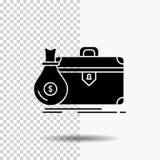 pasta, negócio, caso, aberto, ícone do Glyph do portfólio no fundo transparente ?cone preto ilustração do vetor
