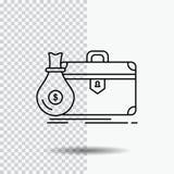 pasta, negócio, caso, aberto, linha ícone do portfólio no fundo transparente Ilustra??o preta do vetor do ?cone ilustração stock
