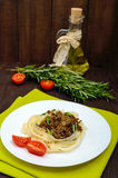 Pasta nest tagliatelle with bolognese sauce on a plate Royalty Free Stock Photo