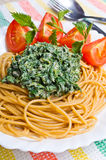 Pasta with nettles sauce Stock Image
