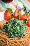 Pasta with nettles sauce Royalty Free Stock Photos