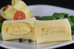 Pasta with nice lettering Royalty Free Stock Photo