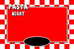 PASTA NIGHT Menu Red white checkerd Background Stock Images