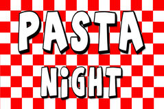 PASTA NIGHT Menu Red white checkerd Background Royalty Free Stock Photography