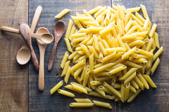 Pasta. No cook on wood background Stock Photography