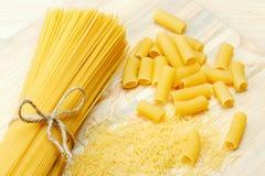 Pasta: noodle, spaghetti, tortiglioni Royalty Free Stock Photos