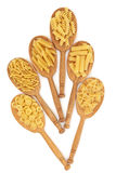 Pasta in Oak Spoons Royalty Free Stock Image
