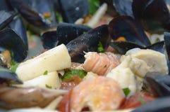 Pasta och musslor Fotografering för Bildbyråer