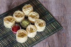 Pasta och såser Royaltyfri Foto