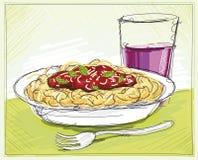 Pasta och vin skissar Royaltyfria Bilder