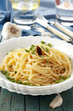 Pasta with oil and garlic. Italian pasta with olive oil and garlic Royalty Free Stock Photos