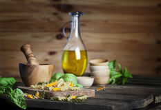Pasta and Olive Oil Royalty Free Stock Photos