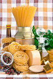 Pasta  with olive, spices, cheese and parsley Stock Photography
