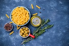 Pasta with olives cooking Royalty Free Stock Photo