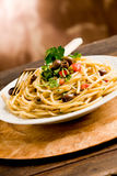 Pasta with Olives and Parsley Stock Photo