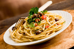 Pasta with Olives and Parsley Royalty Free Stock Image