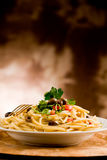 Pasta with Olives and Parsley Royalty Free Stock Photos
