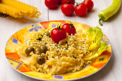 Pasta with olives Stock Photo
