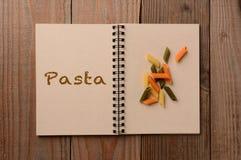 Pasta on Open Notebook Stock Photos