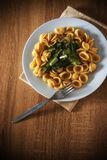 Pasta orecchiette and vegetable plate on a wooden table Royalty Free Stock Photos