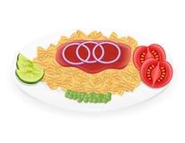 Pasta på en platta med grönsakvektorillustrationen vektor illustrationer