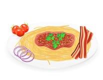 Pasta på en platta med grönsakvektorillustrationen stock illustrationer