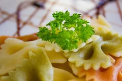 Pasta på plattan Royaltyfri Fotografi