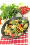 Pasta pan with turnip greens Stock Image