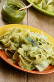 Pasta papardelle with pesto sauce Stock Photos