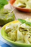 Pasta papardelle with pesto sauce Royalty Free Stock Photography