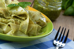 Pasta papardelle with pesto sauce Royalty Free Stock Photos