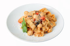Pasta pappardelle with chicken noisettes Stock Photo