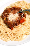 pasta parmesan cheese meat  Royalty Free Stock Photo