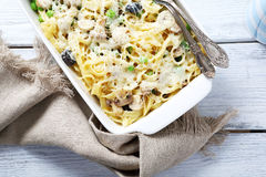 Pasta with parmesan cheese and mushrooms Royalty Free Stock Photography