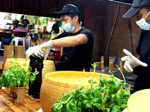 Pasta in parmesan wheel royalty free stock photos