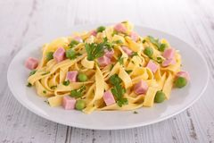 Pasta with pea and ham Stock Image