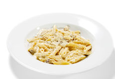 Pasta Pene with Mushrooms Stock Photography