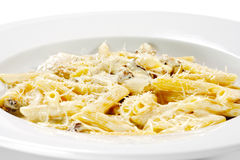 Pasta Pene with Mushrooms Royalty Free Stock Images