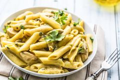 Pasta Pene With Chicken Pieces Mushrooms Parmesan Cheese Sauce A Royalty Free Stock Image