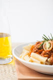 Pasta penne bolognese meat tomato sauce Royalty Free Stock Photo