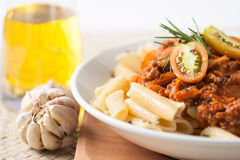 Pasta penne bolognese meat tomato sauce Stock Image