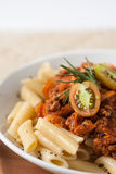 Pasta penne bolognese meat tomato sauce Royalty Free Stock Image