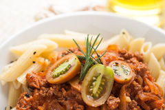 Pasta penne bolognese meat tomato sauce Stock Photography