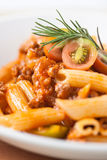 Pasta penne bolognese meat tomato sauce Royalty Free Stock Photography