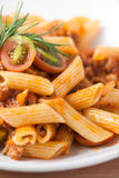 Pasta penne bolognese meat tomato sauce Royalty Free Stock Images