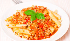 Pasta penne bolognese Royalty Free Stock Images